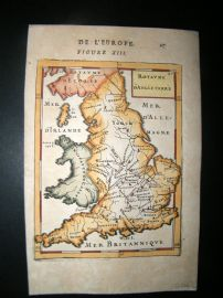 Mallet 1683 Antique Hand Col Map. Royaume d'Angleterre. England